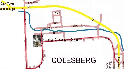 Map Toverberg Guest Houses in Colesberg  Upper Karoo  Northern Cape  South Africa