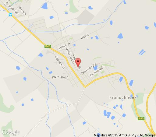 Map Sunny Lane in Franschhoek  Cape Winelands  Western Cape  South Africa