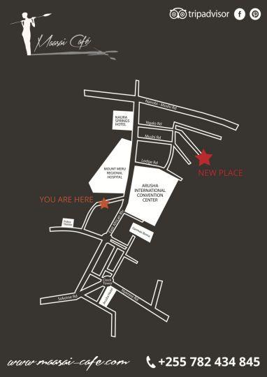 Map Maasai Café in Arusha  Tanzania