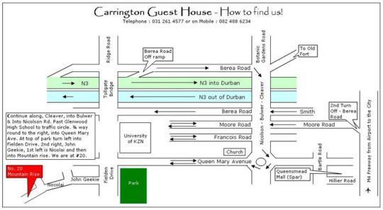 Map Carrington Guest House in Glenmore  Durban  Durban and Surrounds  KwaZulu Natal  South Africa