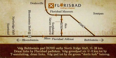 Map Florisbad Holiday Resort in Bloemfontein  Mangaung  Free State  South Africa