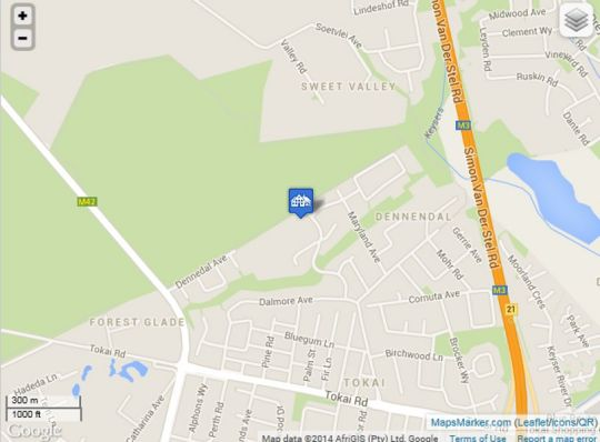 Map Tokai Forest Guest House in Tokai  Southern Suburbs (CPT)  Cape Town  Western Cape  South Africa