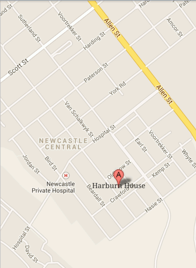 Map Harburn House in Newcastle  Battlefields  KwaZulu Natal  South Africa
