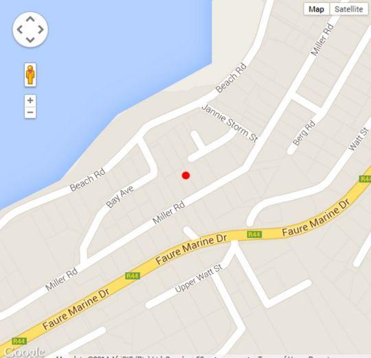 Map 102 Miller Street in Gordon's Bay  Helderberg  Western Cape  South Africa