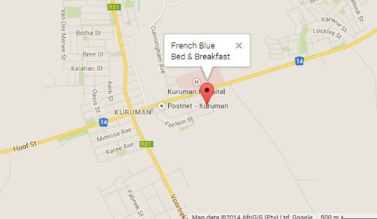 Map French Blue Self Catering in Kuruman  Kalahari  Northern Cape  South Africa