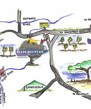 Map Blyde Mountain Country House in Hoedspruit  Valley of the Olifants  Limpopo  South Africa