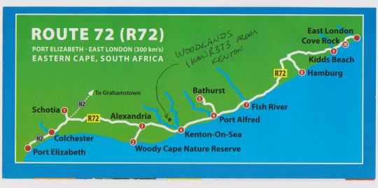 Map Woodlands Cottages & Backpackers in Kenton-on-Sea  Cacadu (Sarah Baartman)  Eastern Cape  South Africa