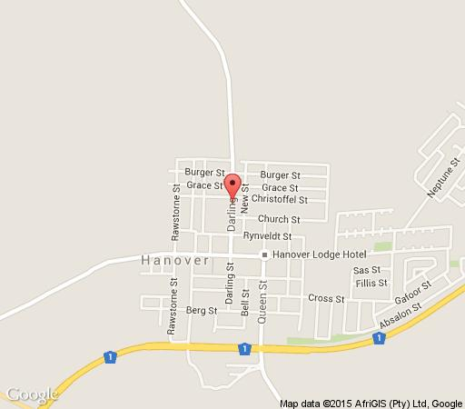 Map Hanover Boutique Guesthouse in Hanover  Upper Karoo  Northern Cape  South Africa