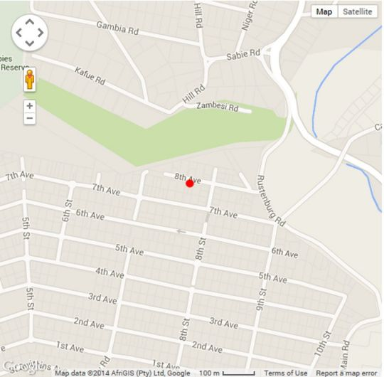 Map  BnB on 8th Avenue in Melville (JHB)  Northcliff/Rosebank  Johannesburg  Gauteng  South Africa