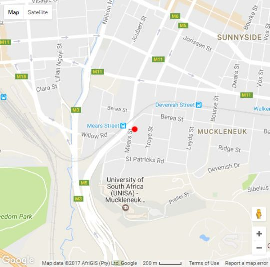 Map Muckleneuk Manor in Muckleneuk Ridge  Pretoria Central  Pretoria / Tshwane  Gauteng  South Africa