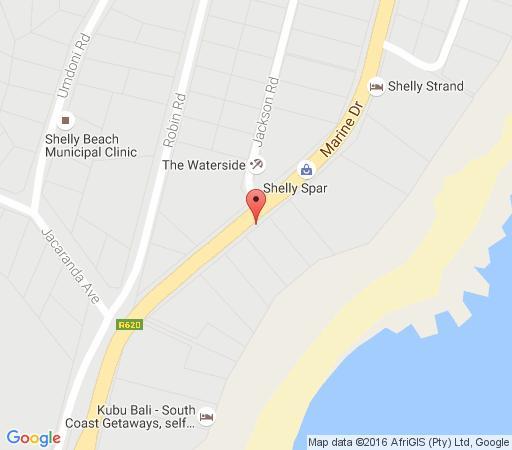 Map Amble Inn  in Shelly Beach  South Coast (KZN)  KwaZulu Natal  South Africa