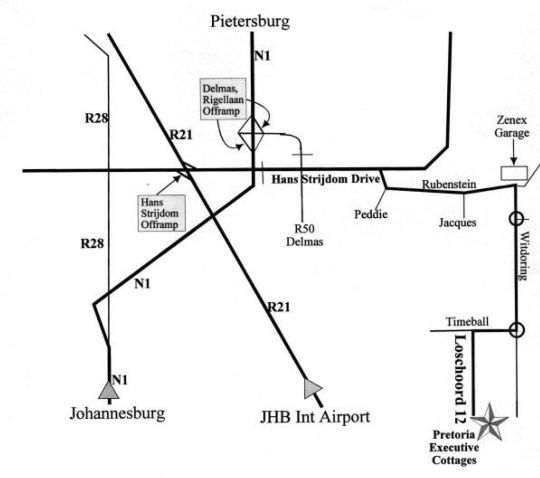 Map Pretoria Executive Cottages in Moreleta Park  Pretoria East  Pretoria / Tshwane  Gauteng  South Africa