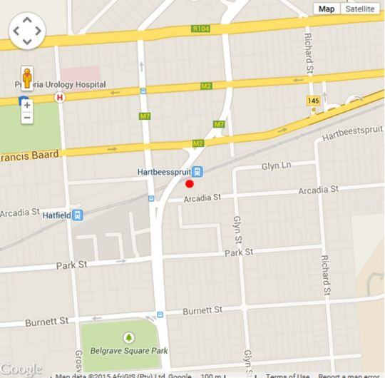 Map Hatfield Budget Accommodation in Hatfield  Pretoria Central  Pretoria / Tshwane  Gauteng  South Africa
