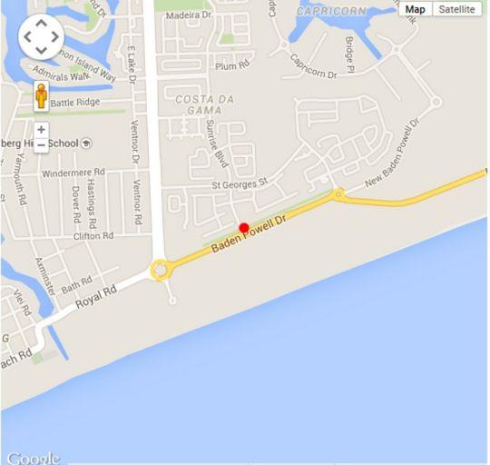 Map Villa D\'Algarve 113 in Muizenberg  False Bay  Cape Town  Western Cape  South Africa