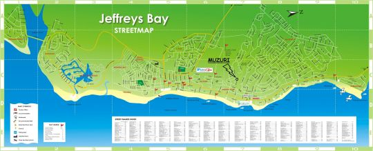 Map Muzuri  in Jeffreys Bay  Cacadu (Sarah Baartman)  Eastern Cape  Suid-Afrika