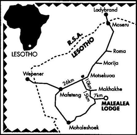 Map Malealea Lodge & PonyTrek Centre in Mafeteng (City)  Mafeteng (District)  Lesotho