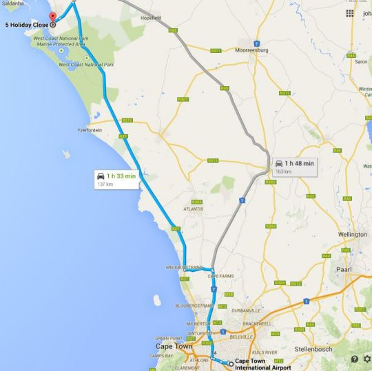 Map Holiday Guest House Langebaan in Langebaan  West Coast (WC)  Western Cape  South Africa