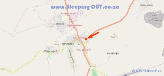 Map Kleinplasie Guest House in Springbok  Namakwaland  Northern Cape  South Africa