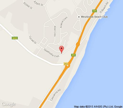 Map Airport Beach Backpackers in Westbrook  North Coast (KZN)  KwaZulu Natal  Afrique du Sud