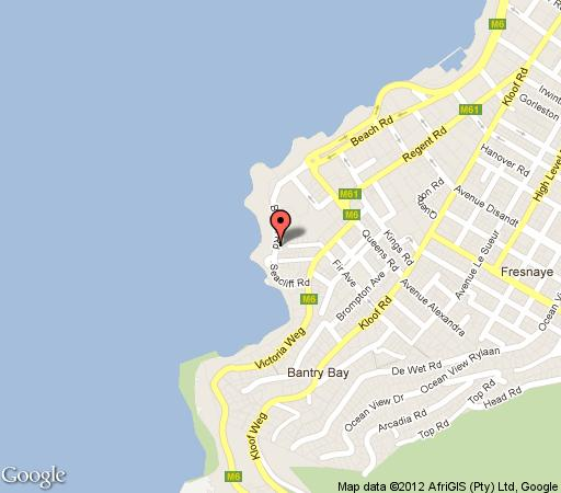 Map Bantry Beach Luxury Suites in Bantry Bay  Atlantic Seaboard  Cape Town  Western Cape  South Africa