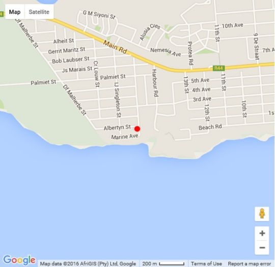 Map La Mer in Kleinmond  Overberg  Western Cape  South Africa