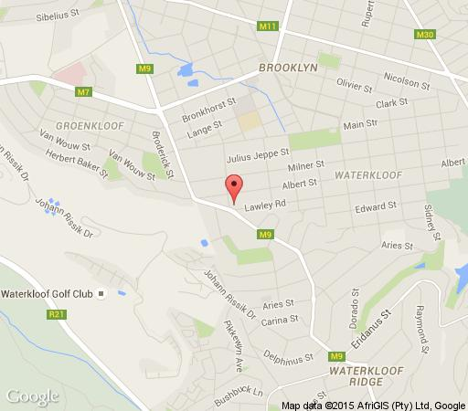 Map Waterhouse Guest Lodges - 202 Lawley Street in Waterkloof  Pretoria East  Pretoria / Tshwane  Gauteng  South Africa