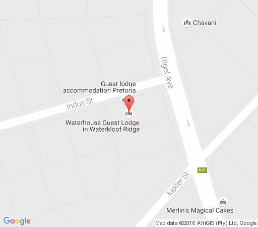 Map Waterhouse Guest Lodges: 295 Indus Street in Waterkloof Ridge  Pretoria East  Pretoria / Tshwane  Gauteng  South Africa