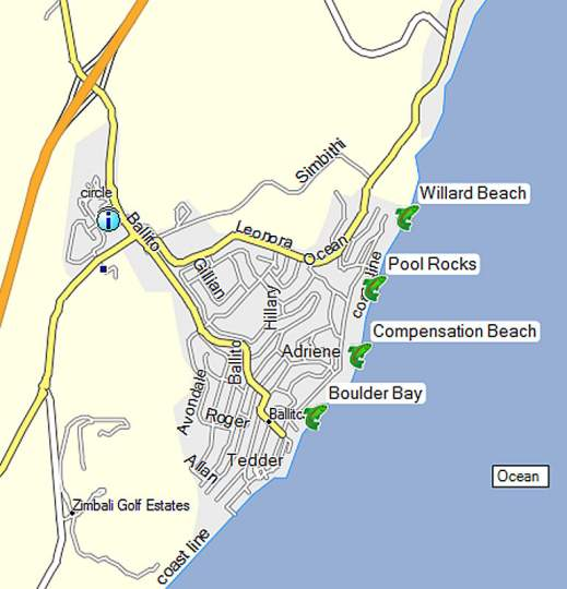 Map Ballito Holiday Apartment in Ballito  North Coast (KZN)  KwaZulu Natal  South Africa