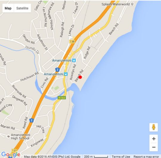 Map L\'Escalier Cabanas 107 in Amanzimtoti  South Coast (KZN)  KwaZulu Natal  South Africa