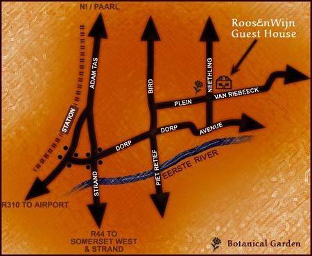 Map Roosenwijn Guesthouse in Stellenbosch  Cape Winelands  Western Cape  South Africa