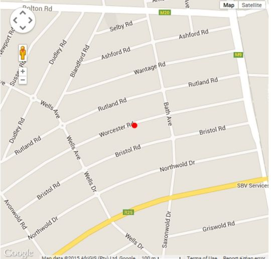 Map Worcester Cottage and Suite in Parkview  Northcliff/Rosebank  Johannesburg  Gauteng  South Africa