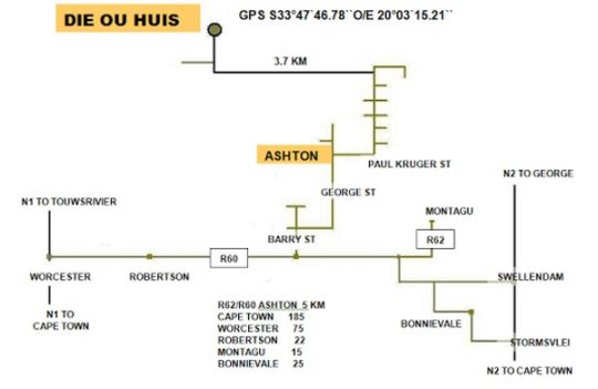 Map Die Ou Huis in Ashton  Breede River Valley  Western Cape  South Africa