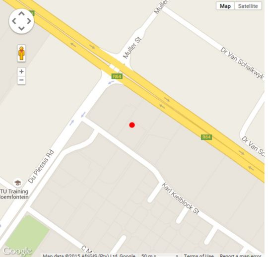 Map Elohims Lodge & Spa in Bloemfontein  Mangaung  Free State  South Africa
