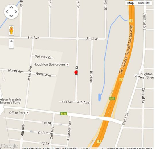 Map Foxwood House in Houghton Estate  Johannesburg East  Johannesburg  Gauteng  South Africa