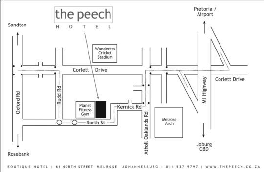 Map The Peech Hotel in Melrose  Sandton  Johannesburg  Gauteng  South Africa