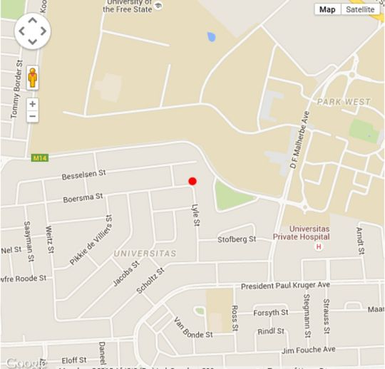 Map 23 on Lyle Guest House in Bloemfontein  Mangaung  Free State  South Africa