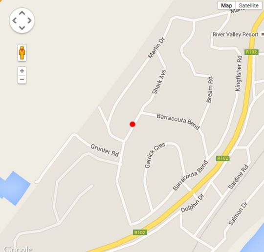Map Aqua Vista Holiday Accommodation in Pennington  South Coast (KZN)  KwaZulu Natal  South Africa