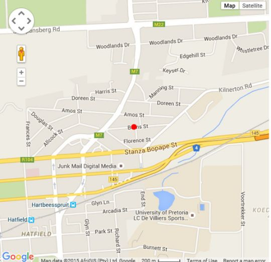 Map 3 at Marion Guesthouse in Colbyn  Pretoria Central  Pretoria / Tshwane  Gauteng  South Africa