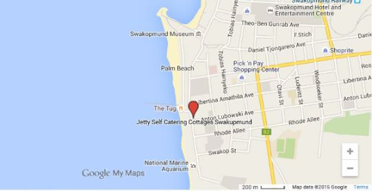 Map Jetty Self-Catering in Swakopmund  Erongo  Namibia