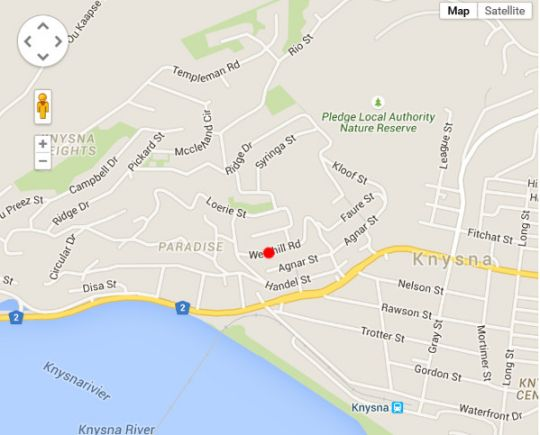 Map 13 on westhill  in Knysna  Garden Route  Western Cape  South Africa