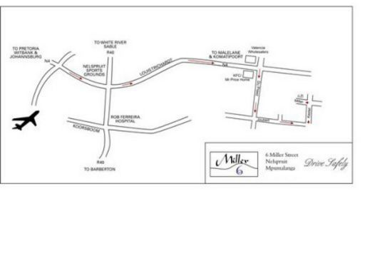 Map 6Miller Self Cater in Nelspruit  Lowveld  Mpumalanga  South Africa