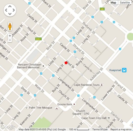 Map Apartments 67 on Long Street in Cape Town CBD  City Bowl  Cape Town  Western Cape  South Africa