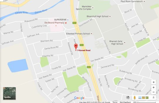 Map Absolute Bosch Guest House in Stellenbosch  Cape Winelands  Western Cape  South Africa