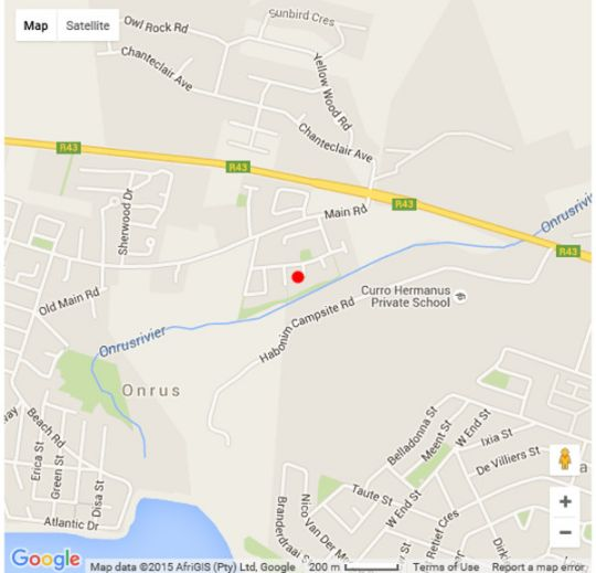 Map Onrus River Cottage in Onrus  Overberg  Western Cape  South Africa