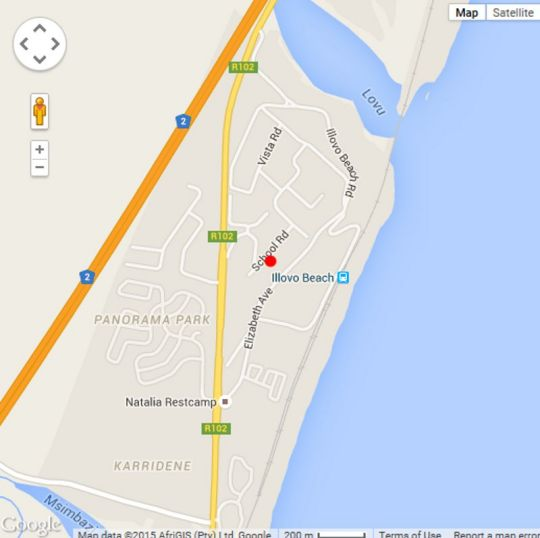 Map South Coast Bungalow in Illovo Beach  South Coast (KZN)  KwaZulu Natal  South Africa