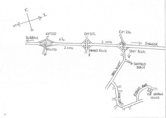 Map The Saffron House in Salt Rock  North Coast (KZN)  KwaZulu Natal  Afrique du Sud