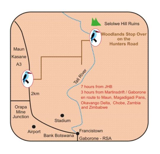 Map  Woodlands Stop Over & Lodge in Francistown  Botswana