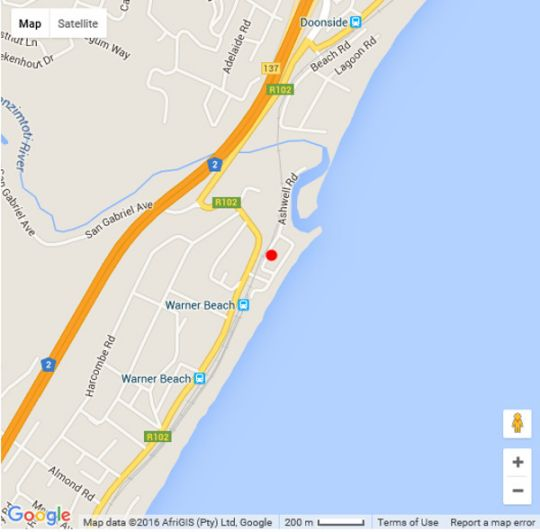 Map 12 Coral Sands in Warner Beach  South Coast (KZN)  KwaZulu Natal  South Africa