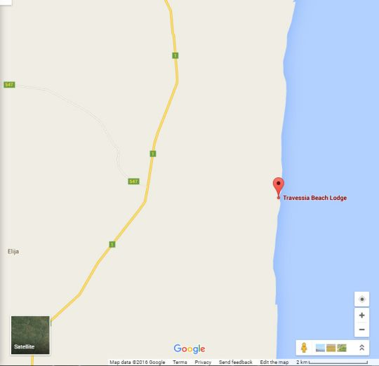 Map Travessia Beach Lodge in Linga Linga  Inhambane  Mozambique