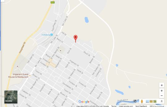 Map Woodpecker Guesthouse in Ficksburg  Thabo Mofutsanyana  Free State  South Africa